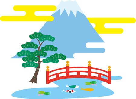 Fuji Mountain and Japanese Garden. Japanese culture. Illustration