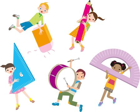 Cheerful multiracial children with stationery Vecteurs