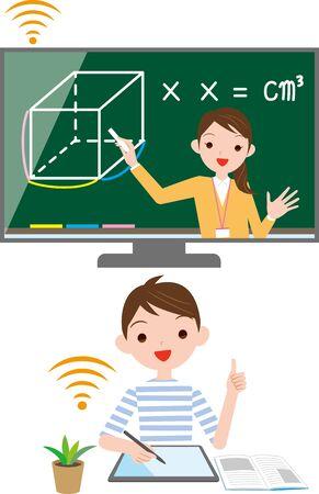 Elementary school online classes. Vector material