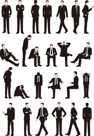 Various postures and movements of a businessman