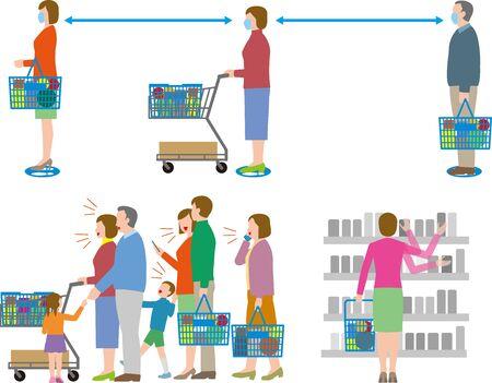 Infection prevention. Supermarket social distance