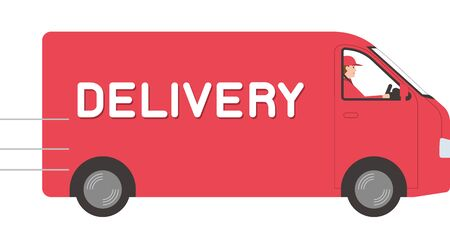 home delivery trader. Courier driving a courier van.