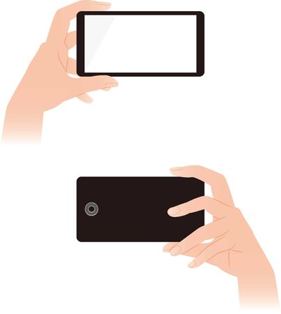 Hand operating a smartphone. front and back