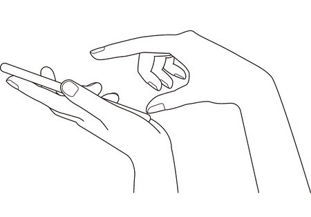 Finger holding a smartphone in hand and tapping