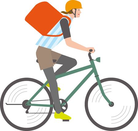 A man riding a bicycle for delivery  イラスト・ベクター素材