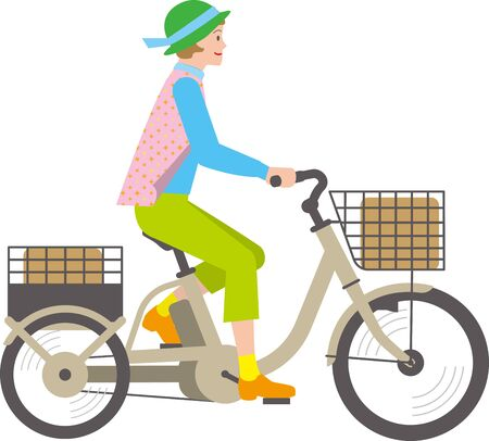 Senior woman riding an electric assisted tricycle