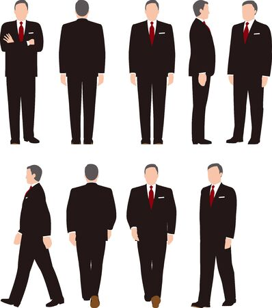 Full body illustration of the middle-aided business woman. Variety Movements