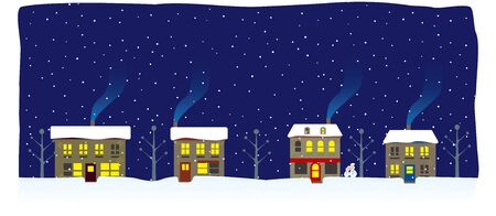 Winter night cityscape with snow