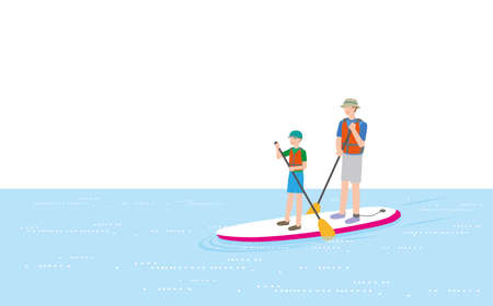 Parents and children enjoying a stand-up paddle boat