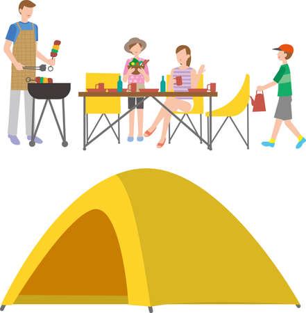 Family preparing food at the camp