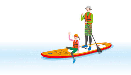 Father and delighted daughter rowing a stand-up paddle boat