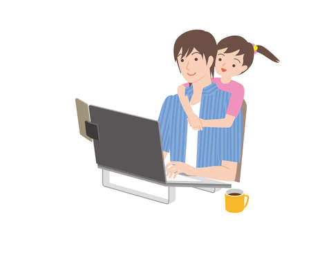 man and children who operate telecommute and personal computers Иллюстрация