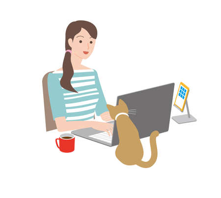 telecommute. woman and a cat