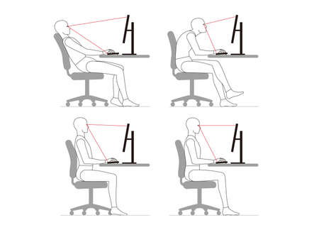 The human sits down and works at the computer. posture.