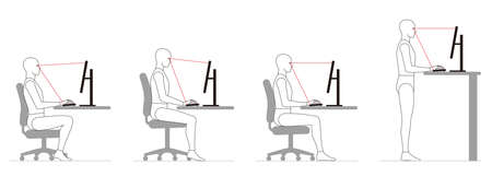 The attitude of a human who works at a desk with a computer. Chair height