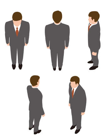 Businessman illustration of standing. Overhead view. 矢量图像