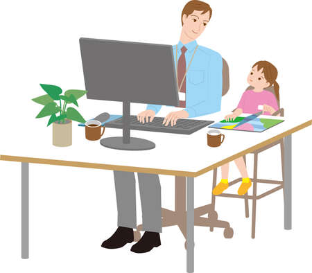 A father who works with his daughter. Work life balance