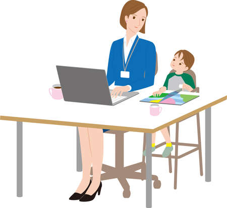 A mother who works with her son. Work life balance