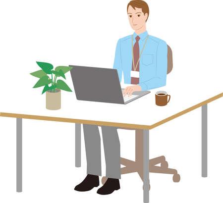 Businessman operating laptop at desk