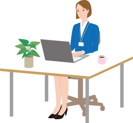 Business woman operating laptop  at desk