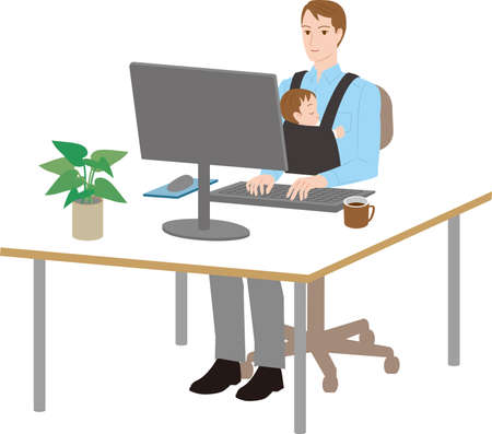 A father who works with his baby to work. Work life balance