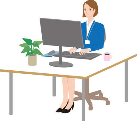 Business woman operating  computer at desk Illustration
