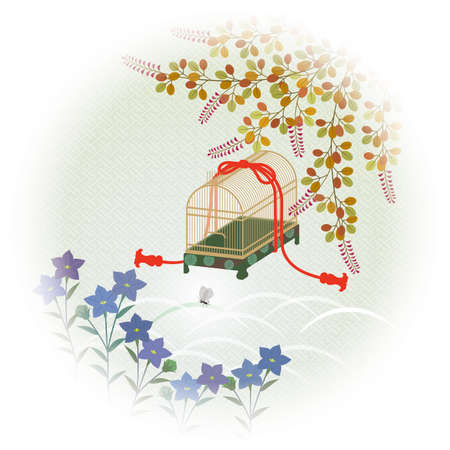 Autumn field flowers and insect cages. Japanese traditional pattern Illustration