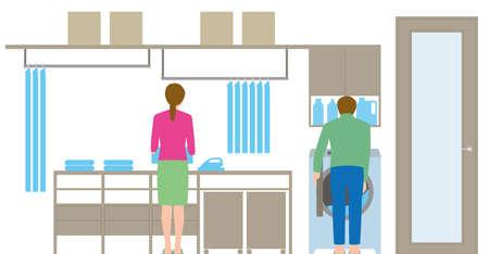 Housing. Laundry room. A couple organizing laundry
