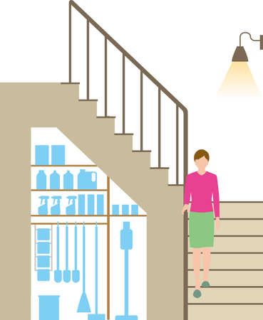 Housing. Stairs and cleaning tool storage Illustration