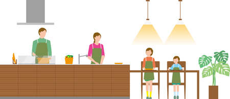 Housing. Family preparing meals in the kitchen Illustration
