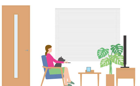 Housing. Woman watching TV in the living room Illustration