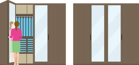Housing. Woman opening the closet