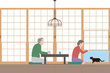 Housing. Japanese-style room with shoji screen and senior couple with cat doorway. Interior