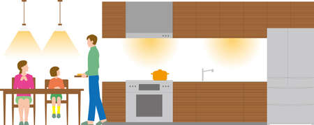 Housing. Kitchen, dining table and family