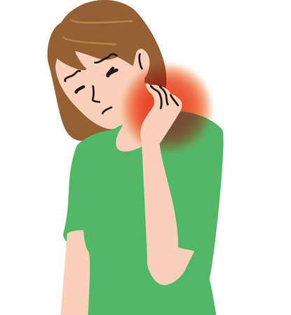 Middle-aged woman feeling neck pain Illustration