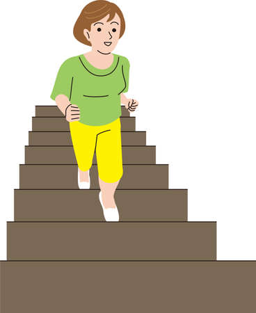 A middle-aged feminine figure who climbs the stairs lightly Illustration