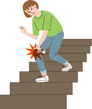 Middle-aged woman whose knees hurt when going down the stairs