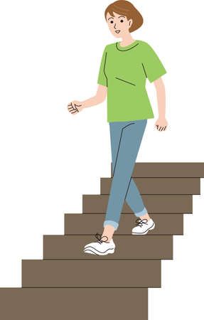 A middle-aged woman who goes down the stairs