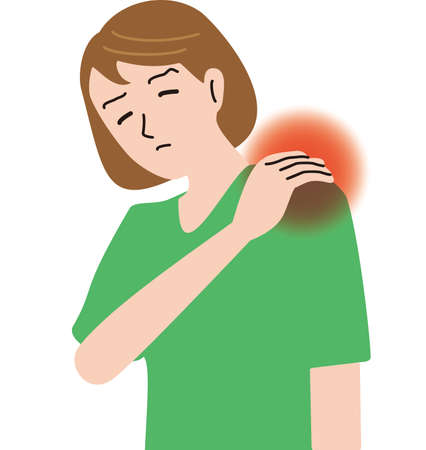 Middle-aged woman feeling shoulder pain