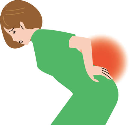 Middle-aged woman feeling lower back pain