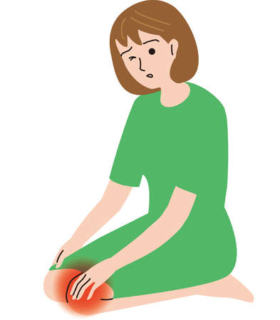 Middle-aged woman feeling knee pain