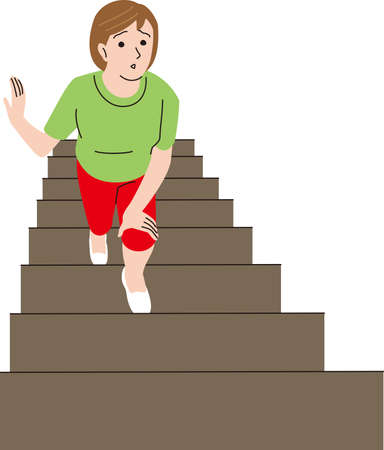 Middle-aged woman who has a hard time climbing the stairs Illustration
