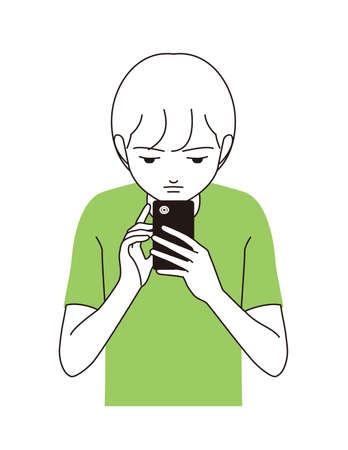 A boy staring at a smartphone Illustration