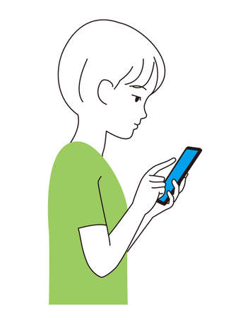 Profile of a boy staring at a smartphone Illustration