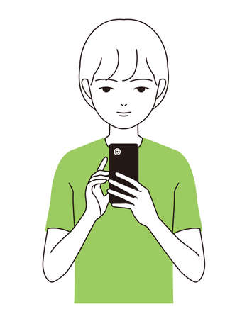 A boy looking at a smartphone in a good posture