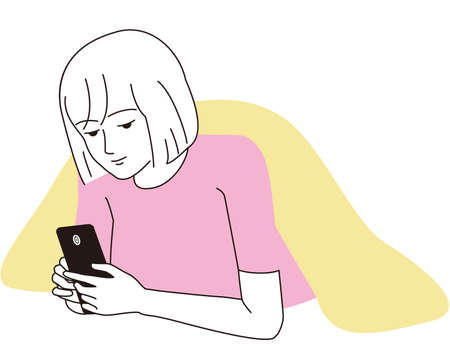 A woman staring face down on her smartphone Illustration