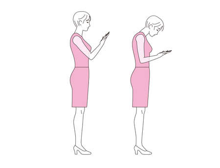 A woman staring at a smartphone. Good posture and bad posture Ilustração