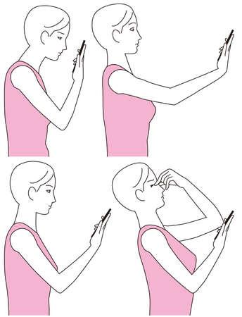 Women who feel eyestrain from smartphones Illustration