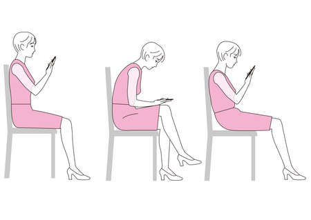 A woman sitting and staring at her smartphone. Good posture and bad posture