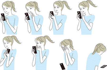 A woman in trouble with a smartphone